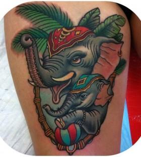 Cute-elephants-tattoo-by-W.-T.-Norbert-280x311