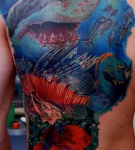 Sea-creatures-back-tattoo-by-Dmitriy-Samohin-280x311