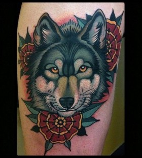 Wolf-and-flowers-tattoo-by-W.-T.-Norbert-280x311