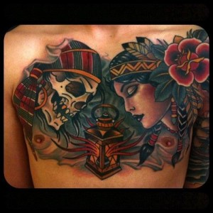 Woman-and-skull-tattoo-by-W.-T.-Norbert