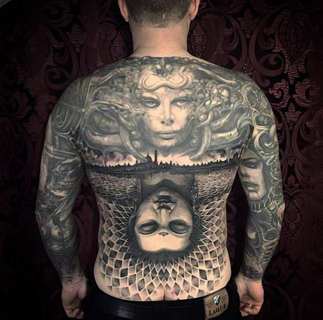 30 full back tattoos designs for Chest mural tattoos