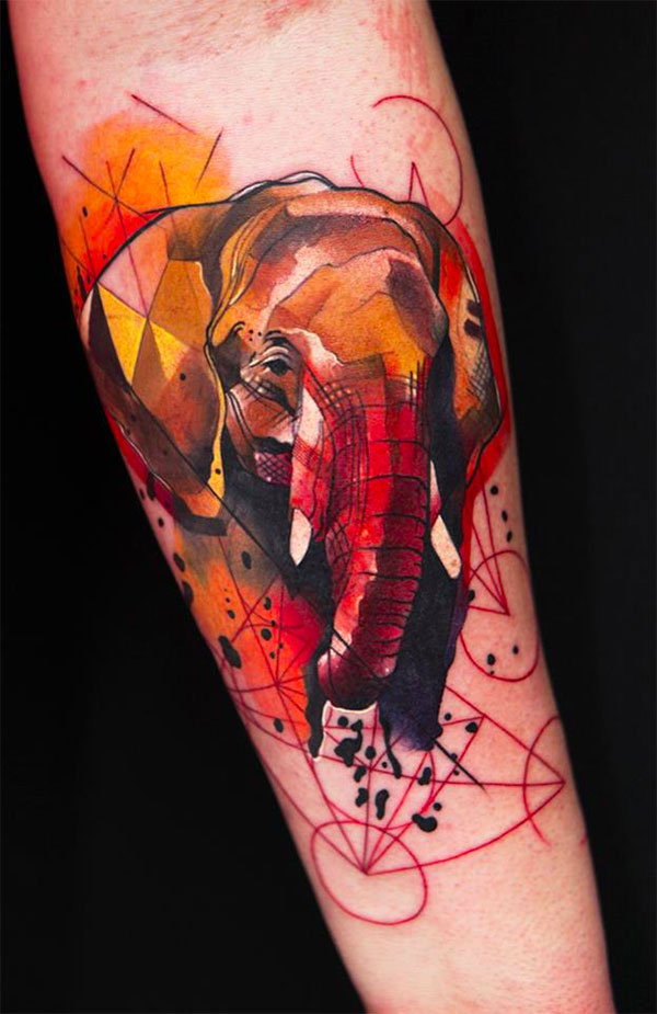 Water color elephant on forearm