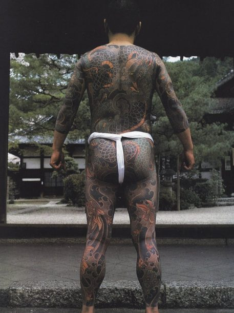 Full body tattooed with japanese designs