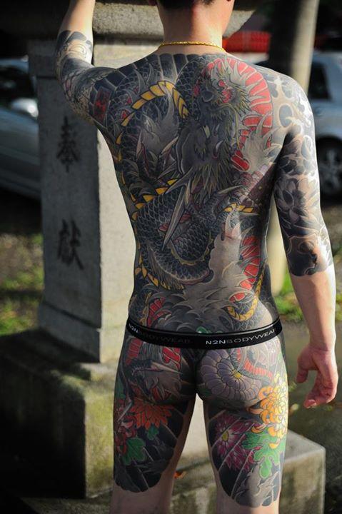 Black dragon Full body Japanaese idea