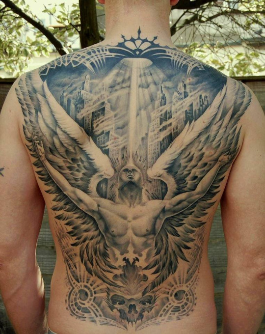 Full back gray tattoo with angel connected with the sky