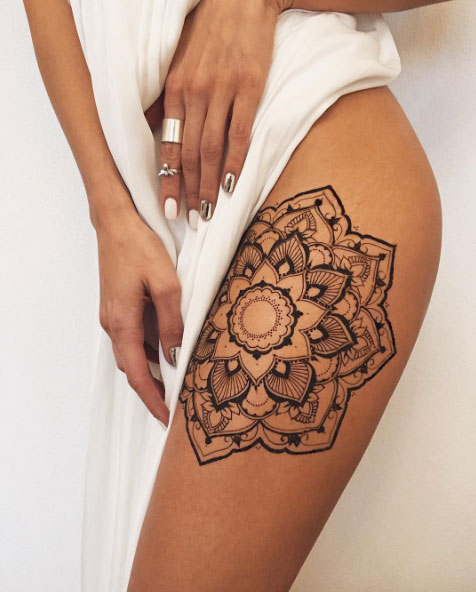 henna thigh tattoo design