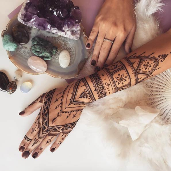 henna hand and forearm design