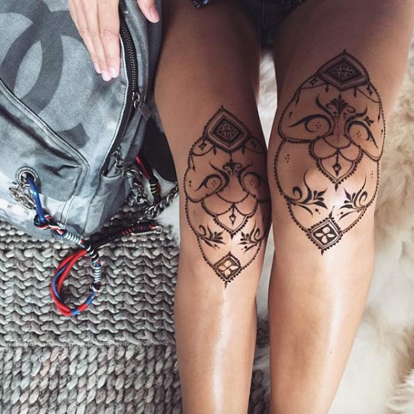 knee henna design