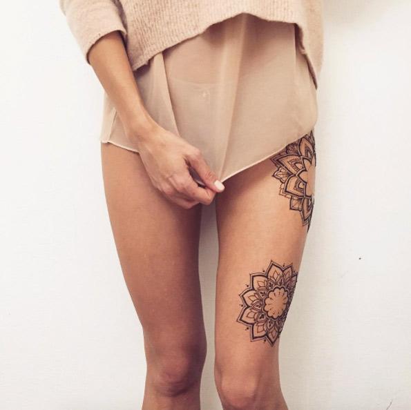 Floral menhi tattoo design