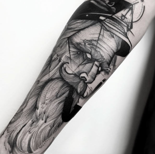 black and grey tattoos - Old man sailor