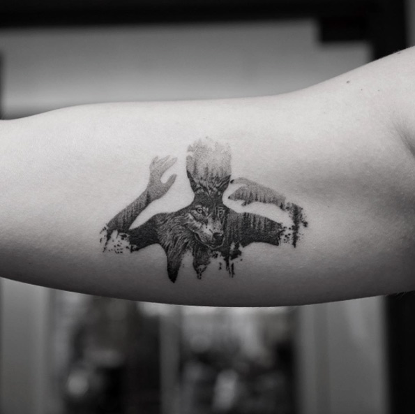 black and gray tattoos - the real animal behind the man