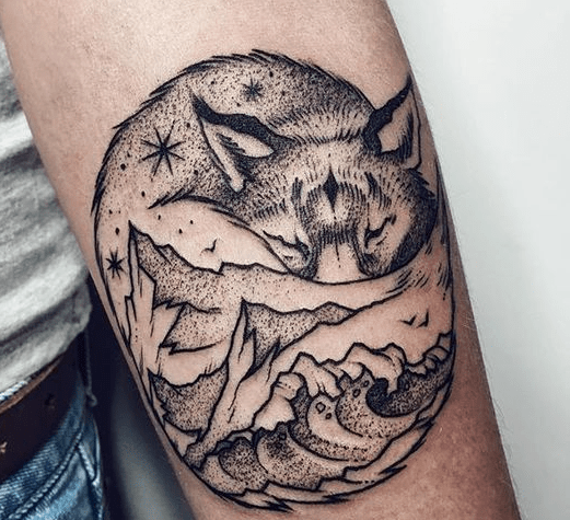 Fox Landscape forearm tattoo